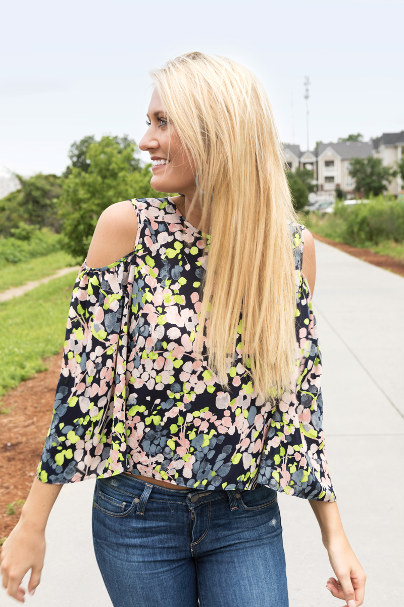 tanger outlets saks off fifth cold shoulder floral top