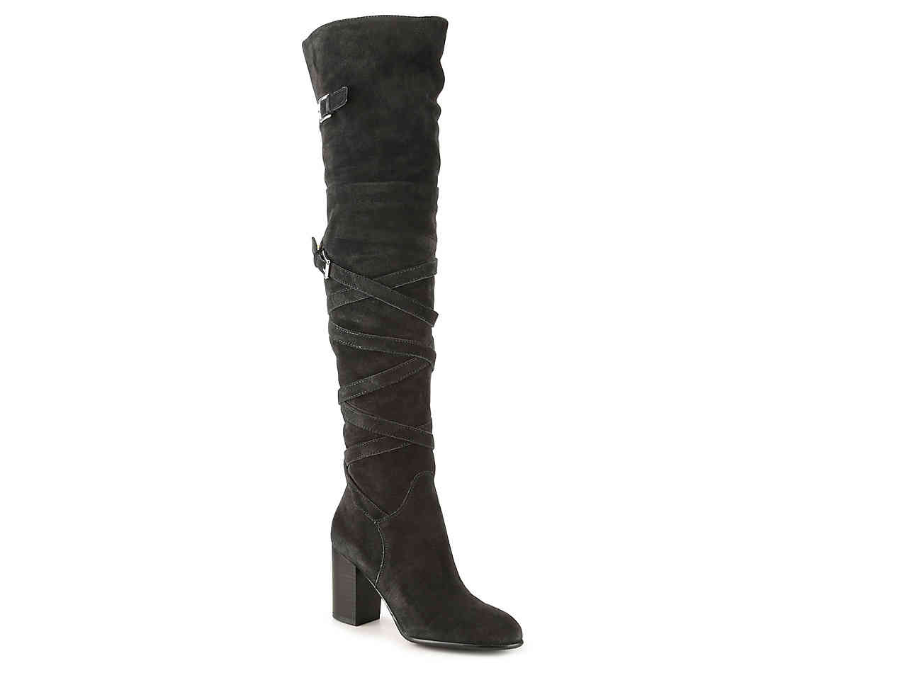 tanger outlets dsw black over the knee heeled bootie