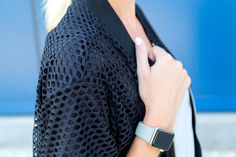 tanger outlets express black mesh jacket
