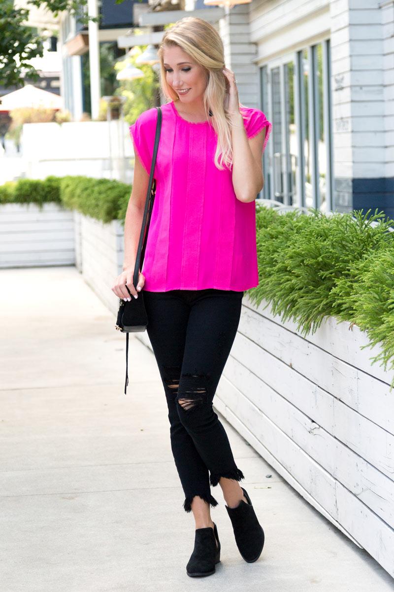 tanger outlets saks off fifth hot pink blouse