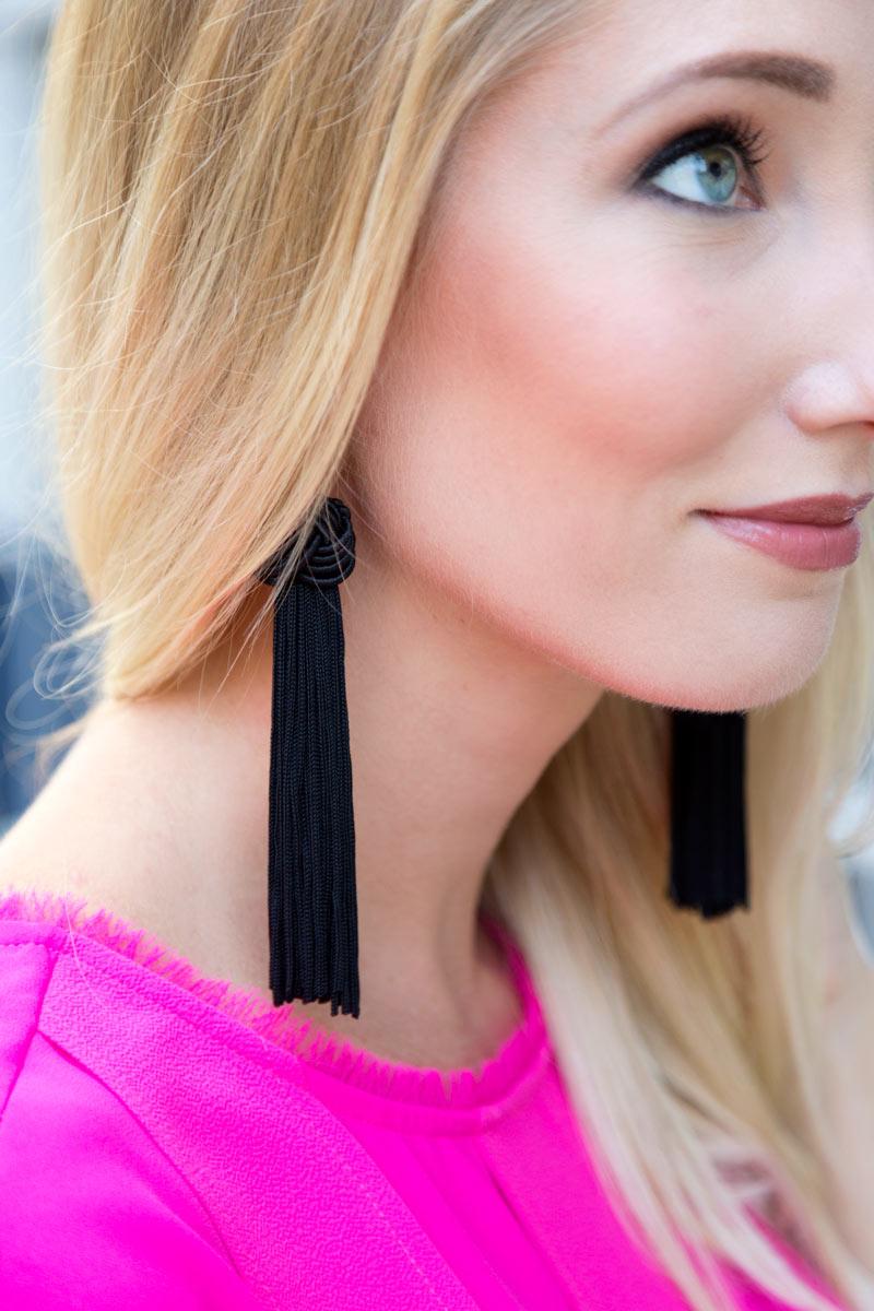 tanger outlets ann taylor black tassel earrings