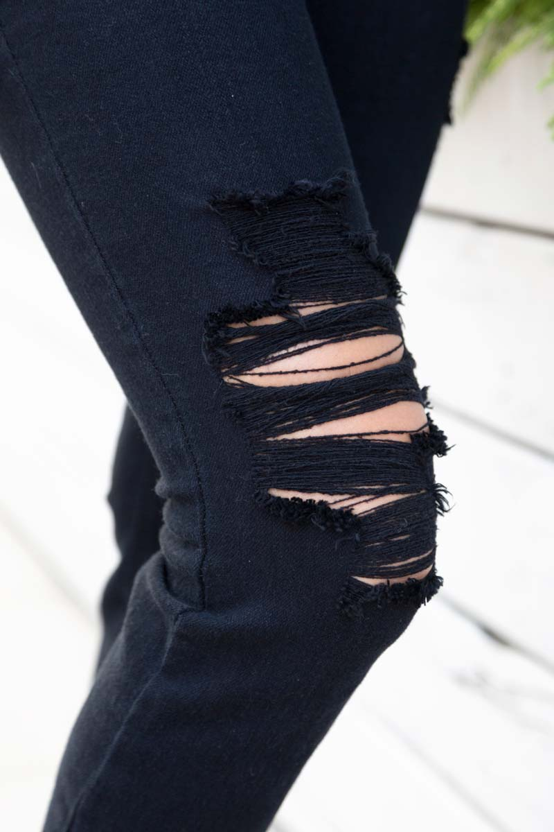 tanger outlets saks off fifth black distressed mid-rise jeans
