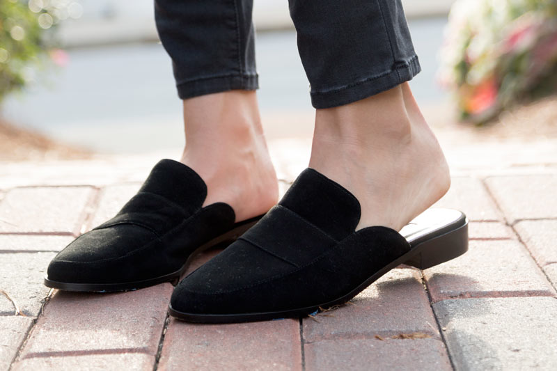 tanger outlets saks off fifth black suede mule shoes