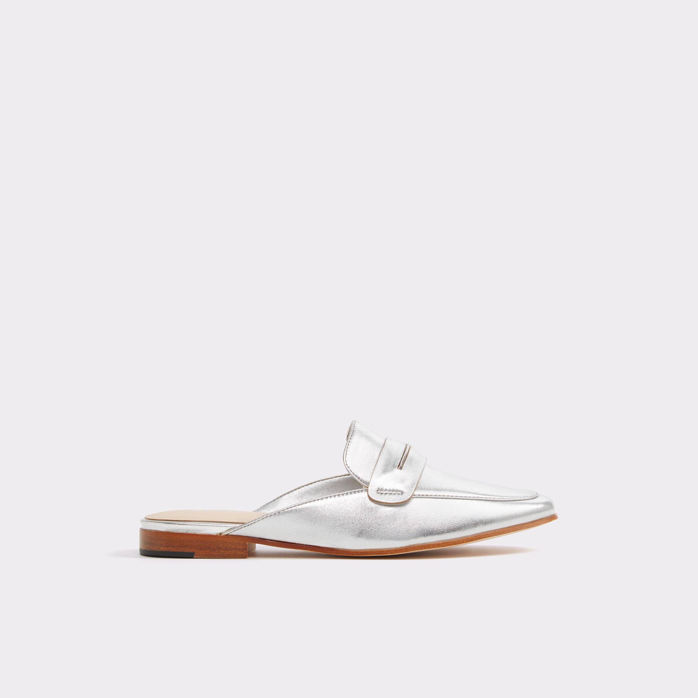 tanger outlets aldo metallic mule shoes
