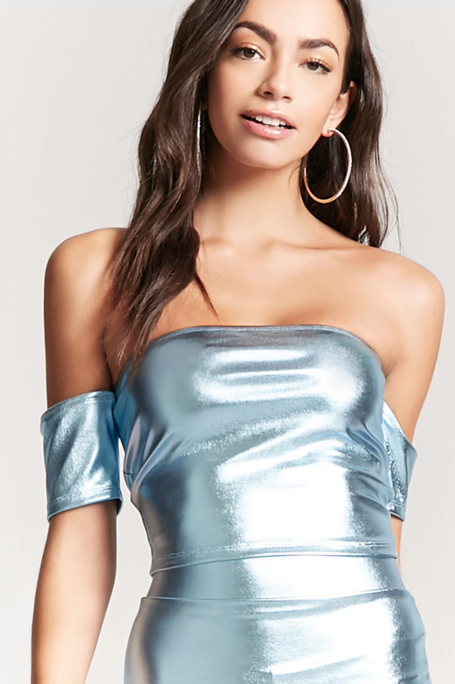 tanger outlets forever 21 off the shoulder metallic crop top