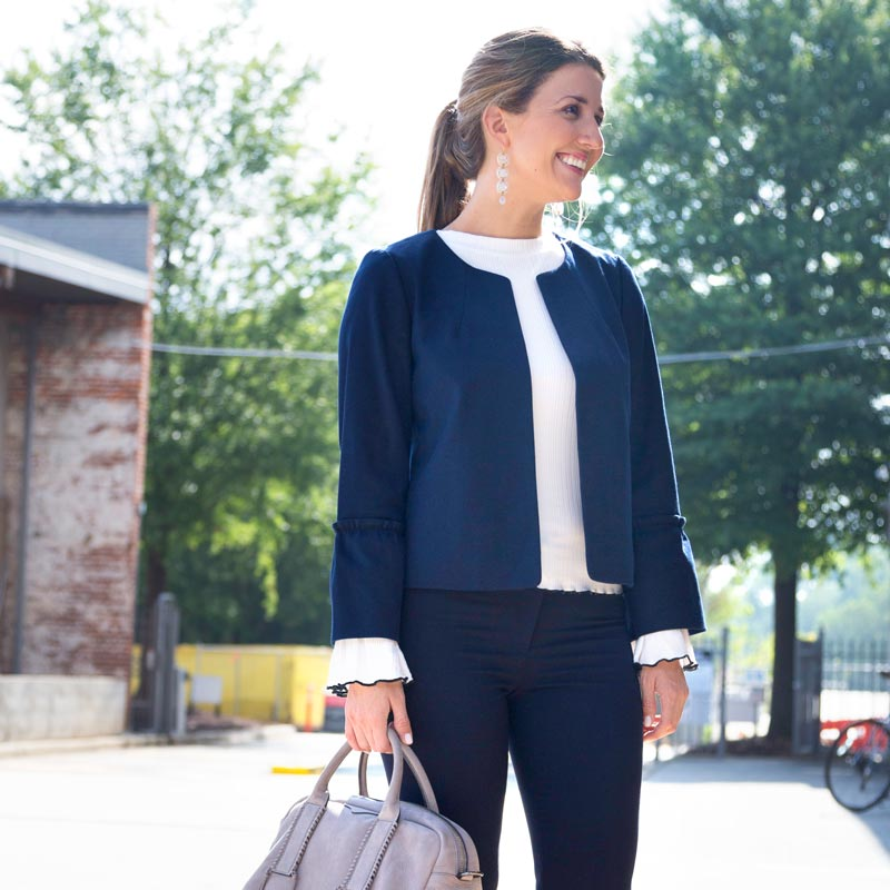 tanger outlets ann taylor navy structured blazer