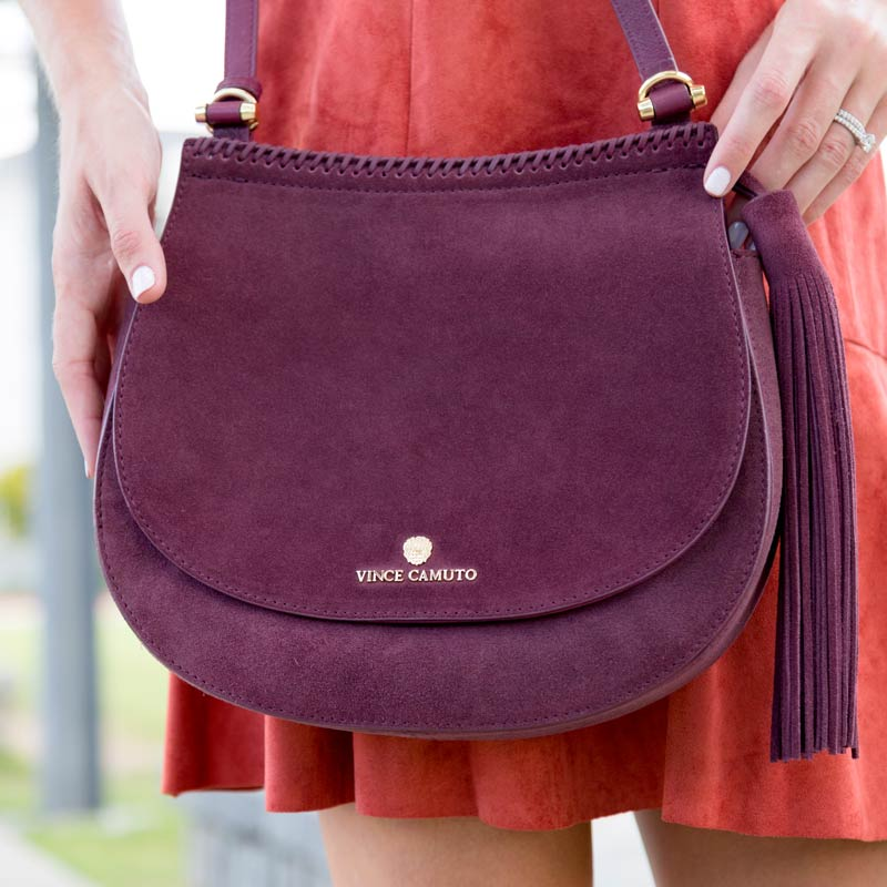 tanger outlets saks off fifth plum suede crossbody purse