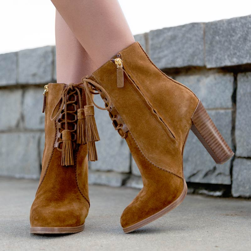 tanger outlets saks off fifth brown lace up booties