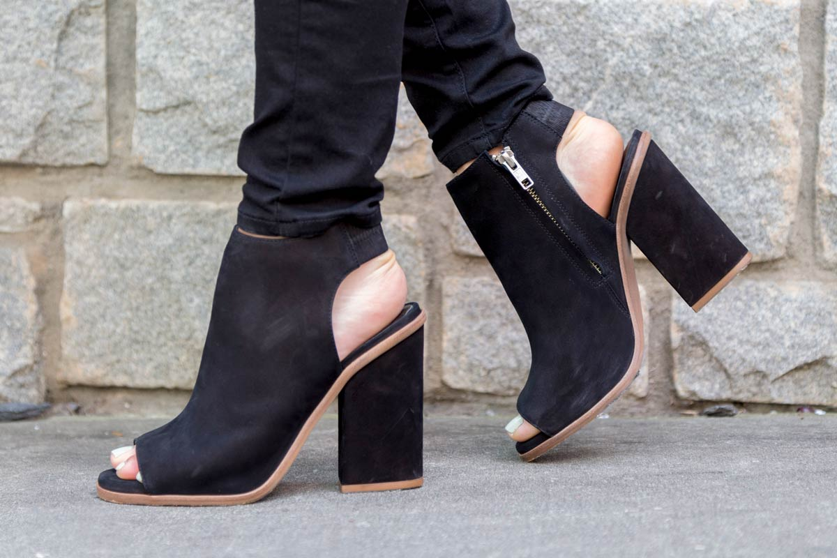 tanger outlets saks off fifth peep toe black suede booties