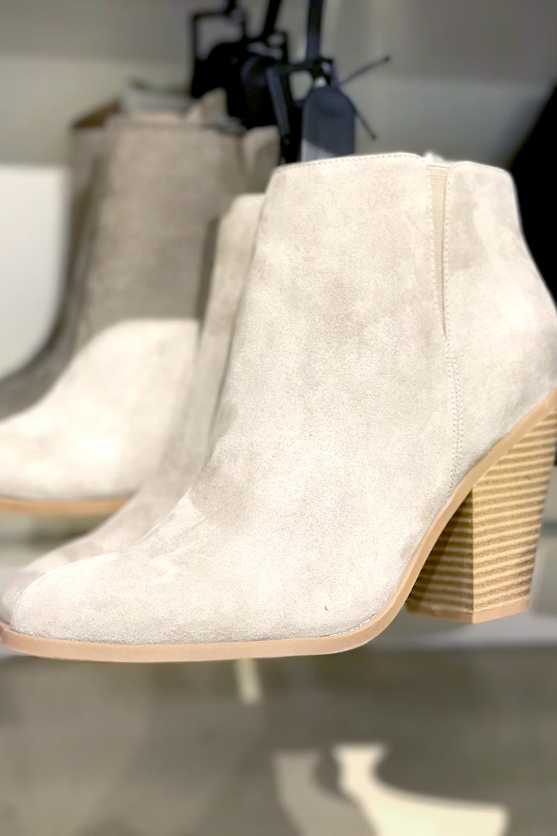 tanger outlets banana republic taupe suede basic booties