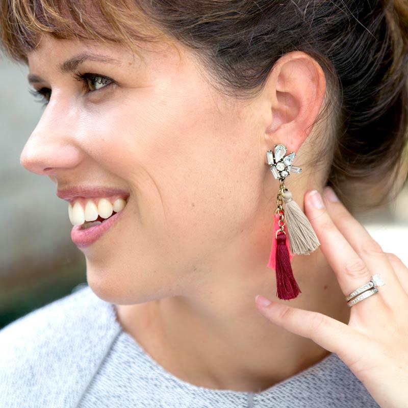 tanger outlets loft three tassel statement earrings