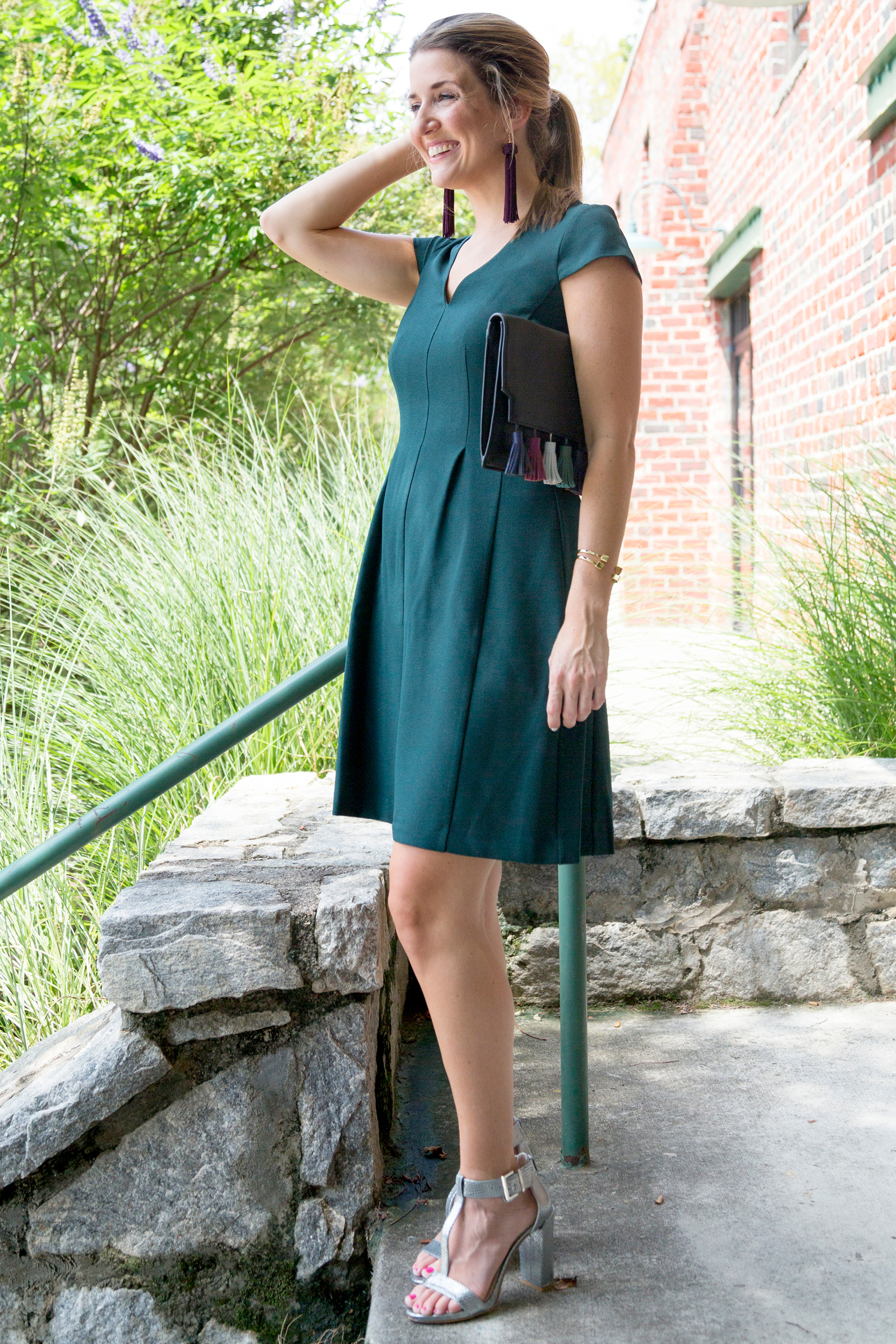 tanger outlets saks off fifth emerald cap sleeve dress