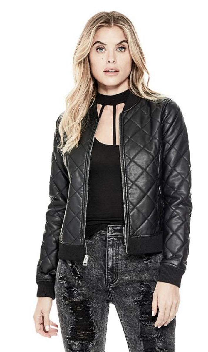 tanger outlets guess faux leather bomber jacket
