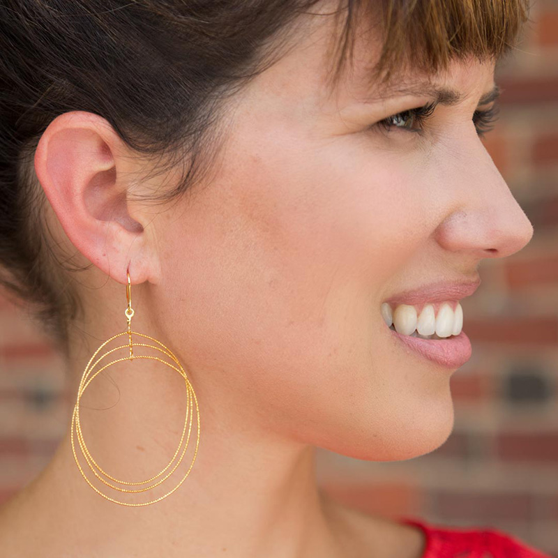tanger outlets neiman marcus last call gold triple hoop earrings