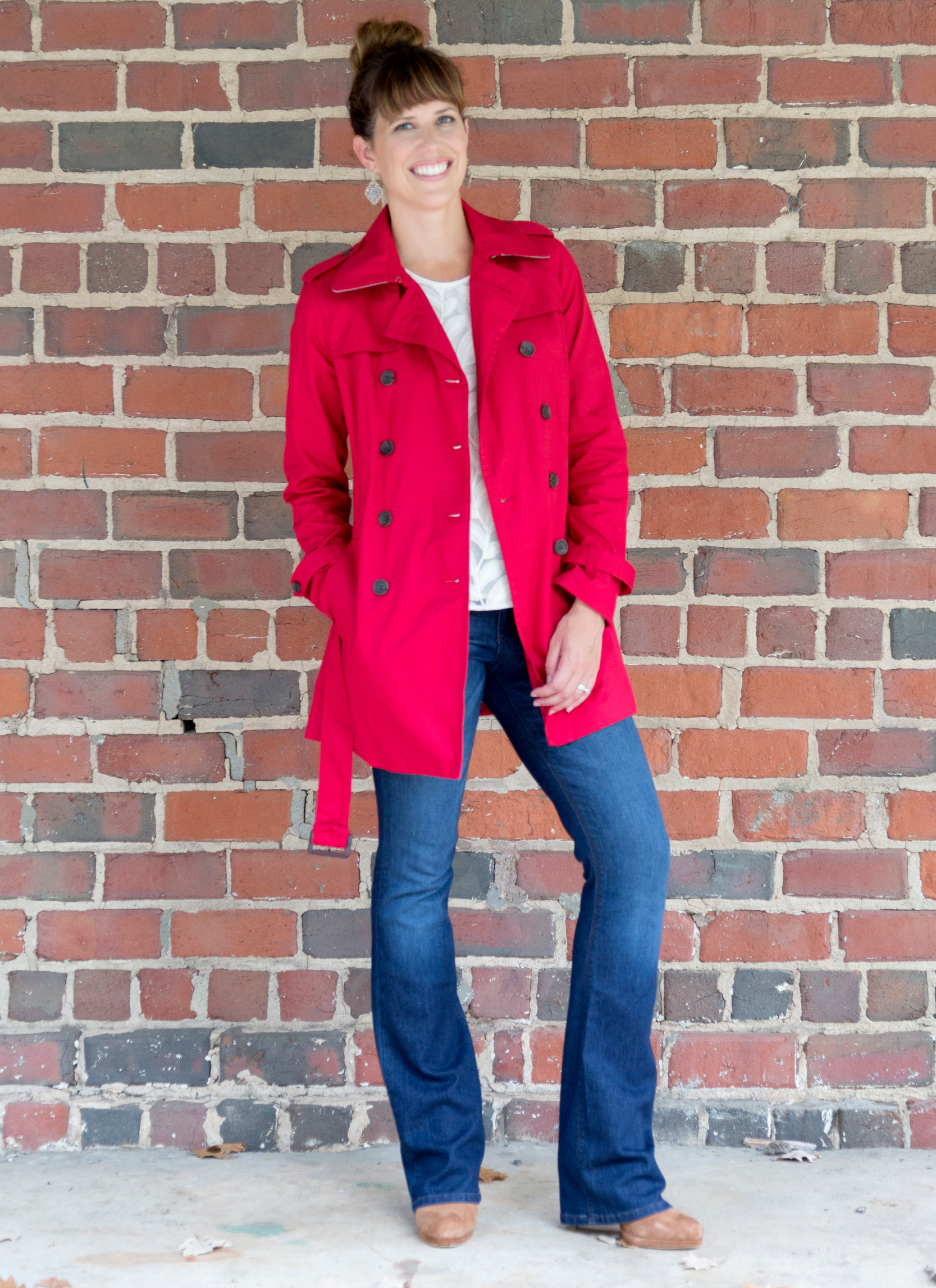 tanger outlets banana republic red trench coat