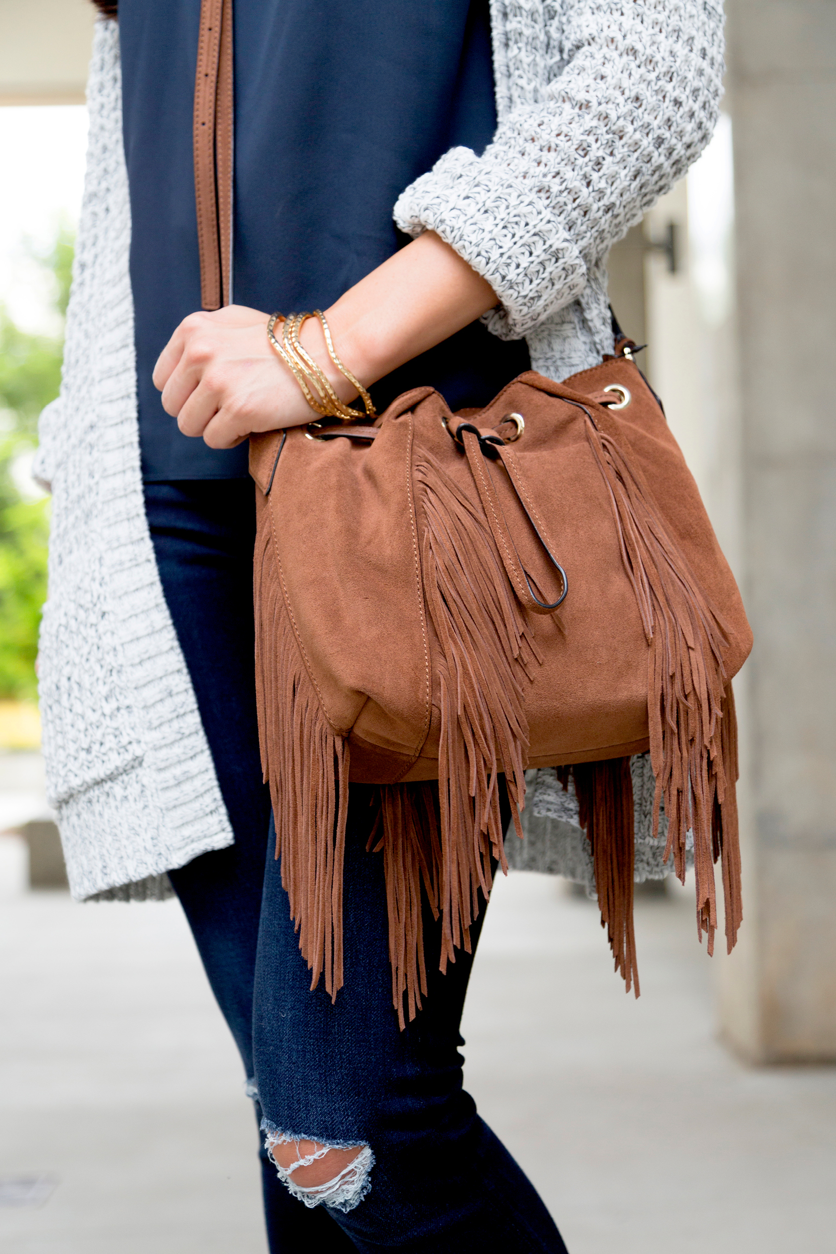 tanger outlets saks off fifth brown suede fringe crossbody purse
