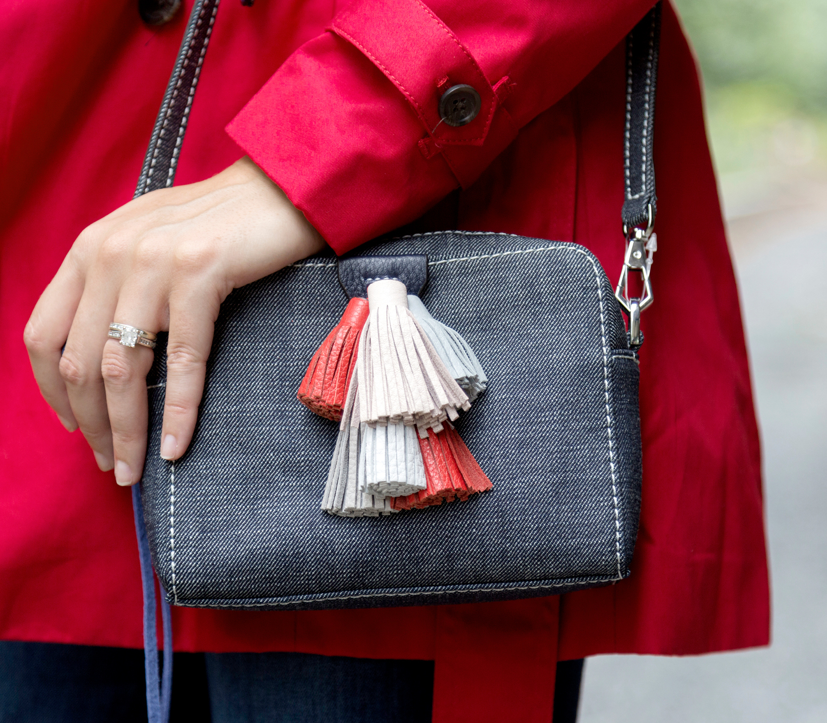 tanger outlets saks off fifth denim and tassel crossbody purse