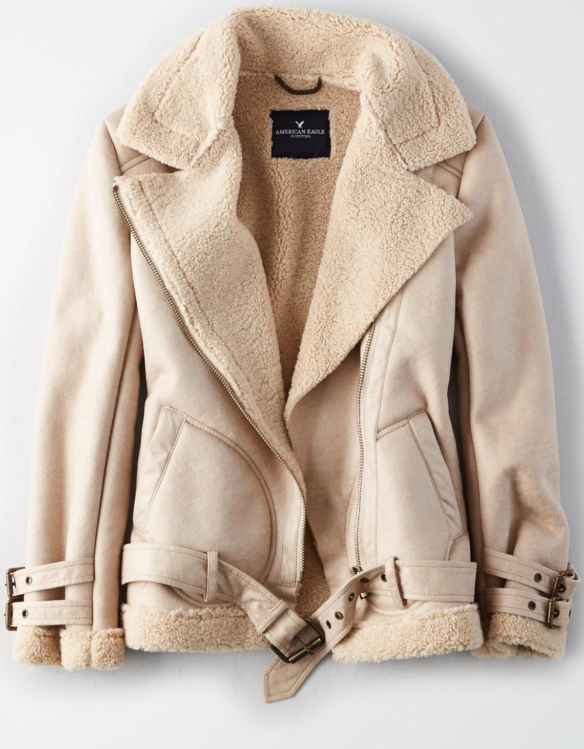 tanger outlets american eagle beige shearling jacket