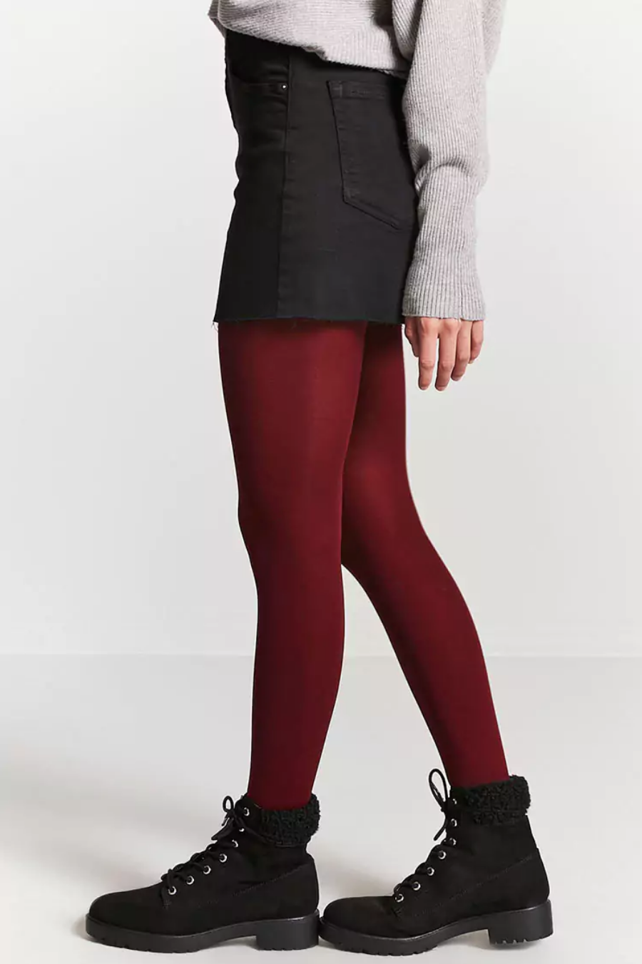 tanger outlets forever 21 semi-sheer burgundy tights