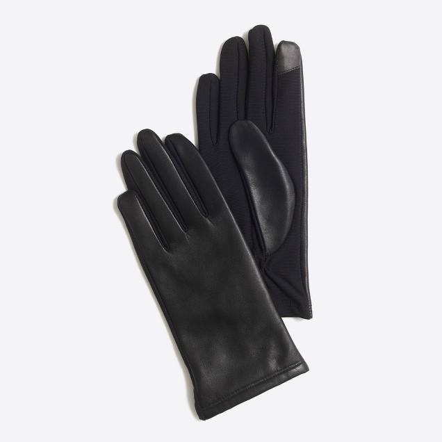 tanger outlets j crew black leather gloves