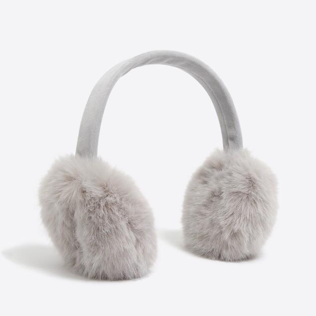 tanger outlets j crew grey fuzzy earmuffs