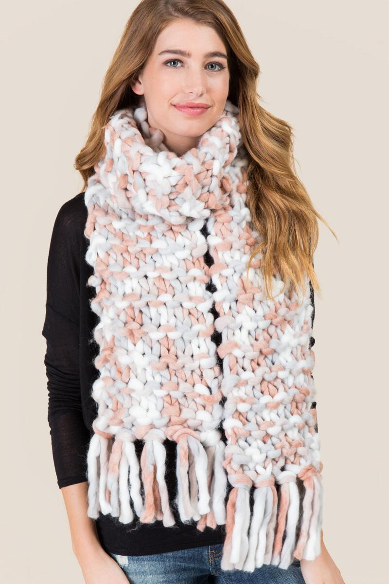 tanger outlets francescas multi-colored chunky knit scarf