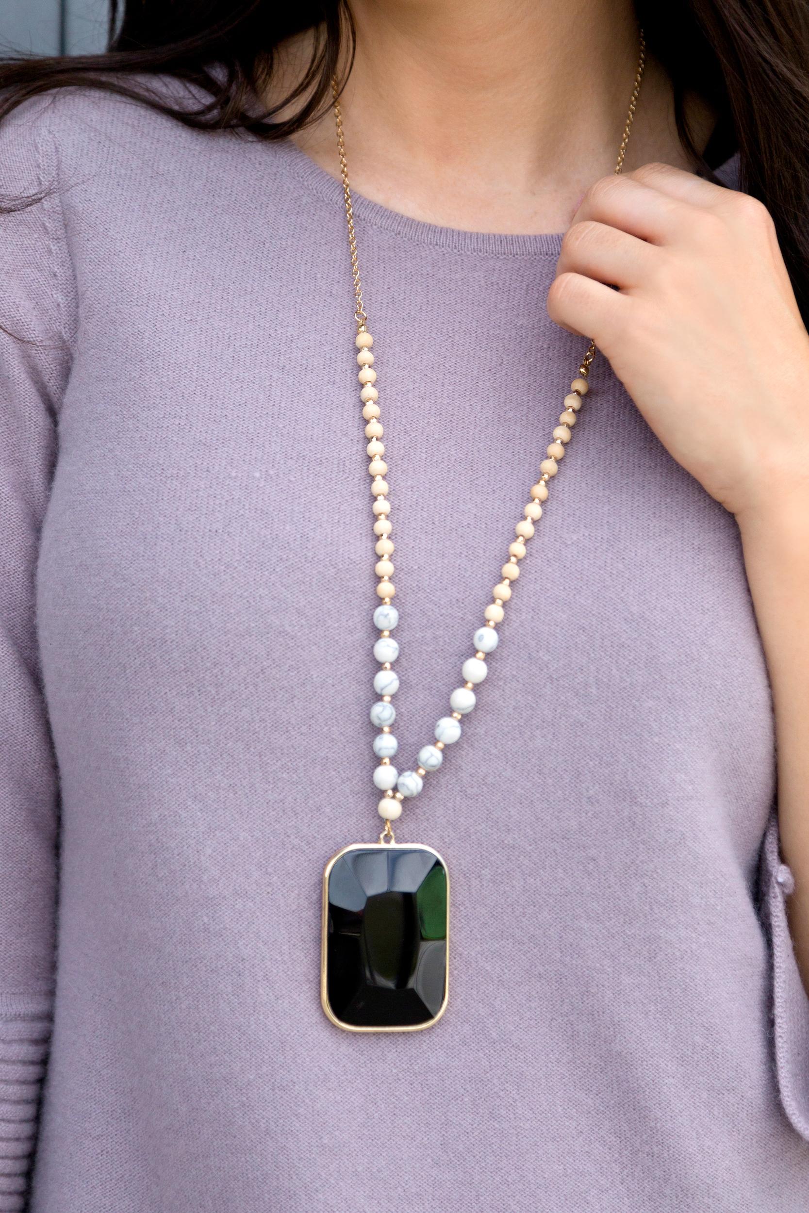 tanger outlets saks off fifth black pendant statement necklace