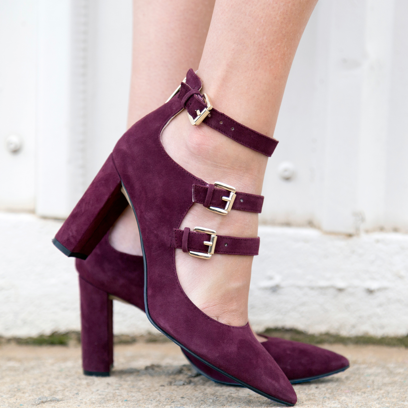 tanger outlets saks off fifth suede maroon heels