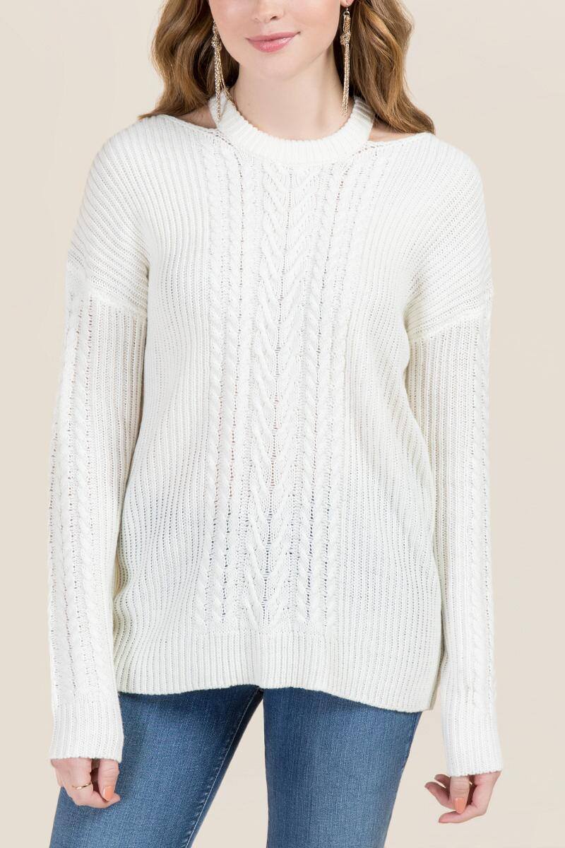 tanger outlets francescas white cut out pullover sweater