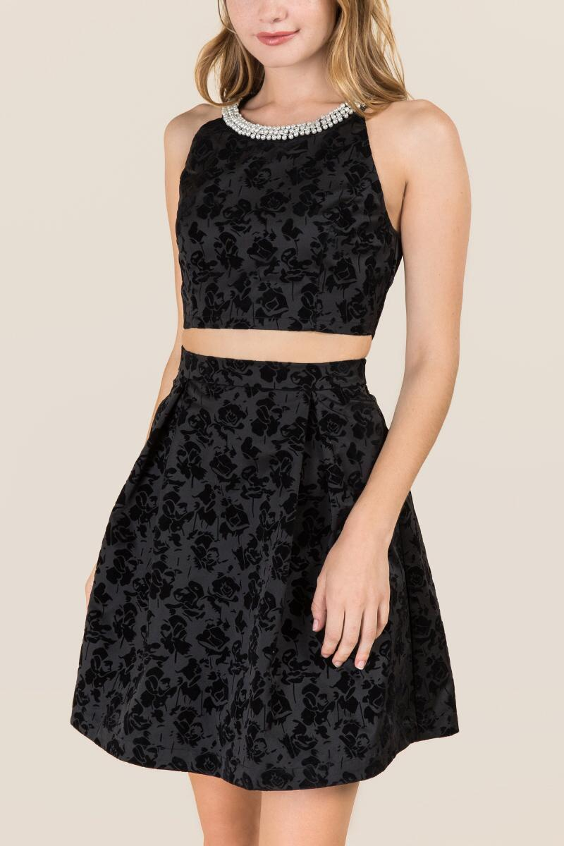 tanger outlets francesca's black two-piece dress