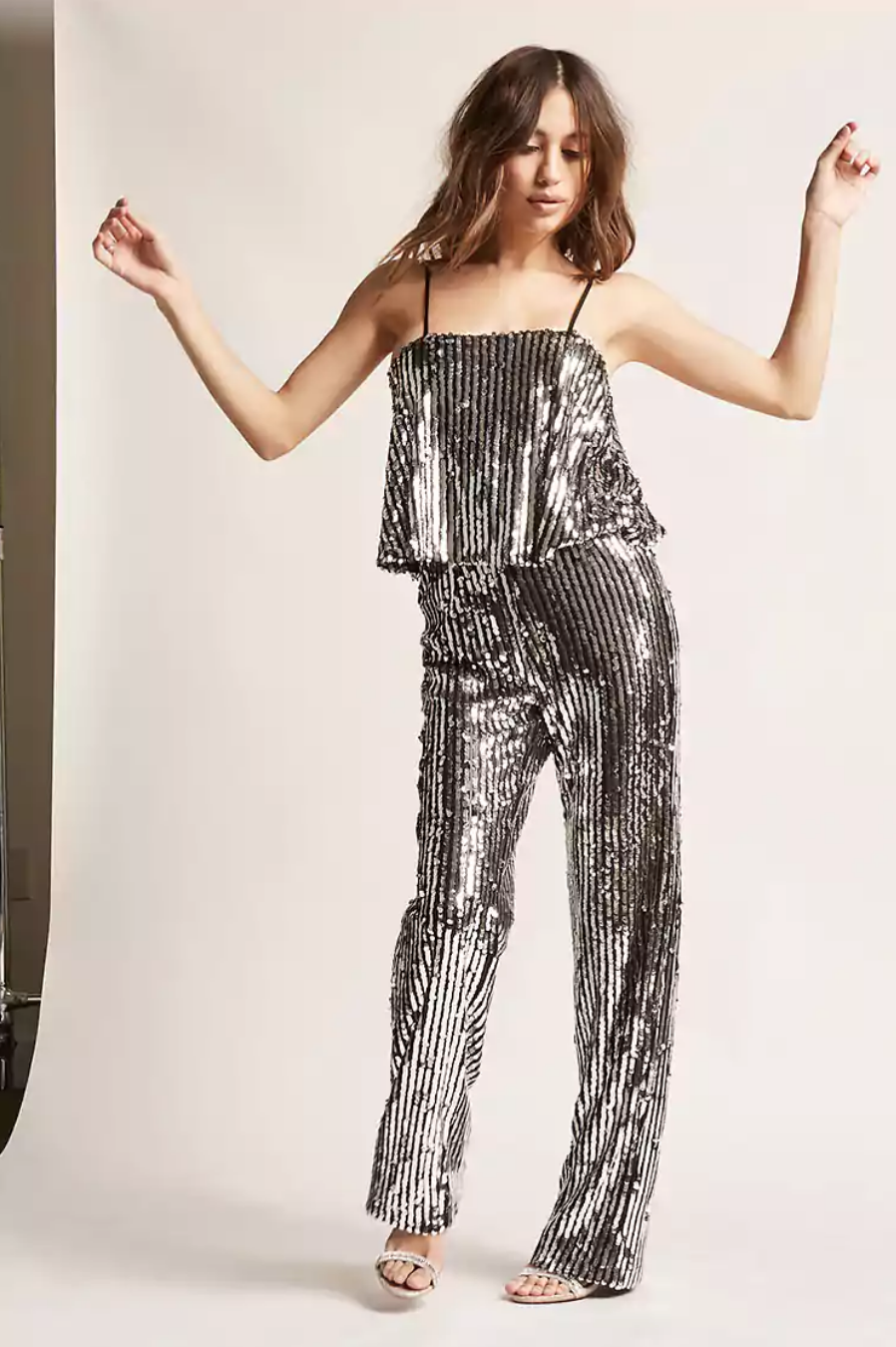 tanger outlets forever 21 silver sequined striped jumpsuit