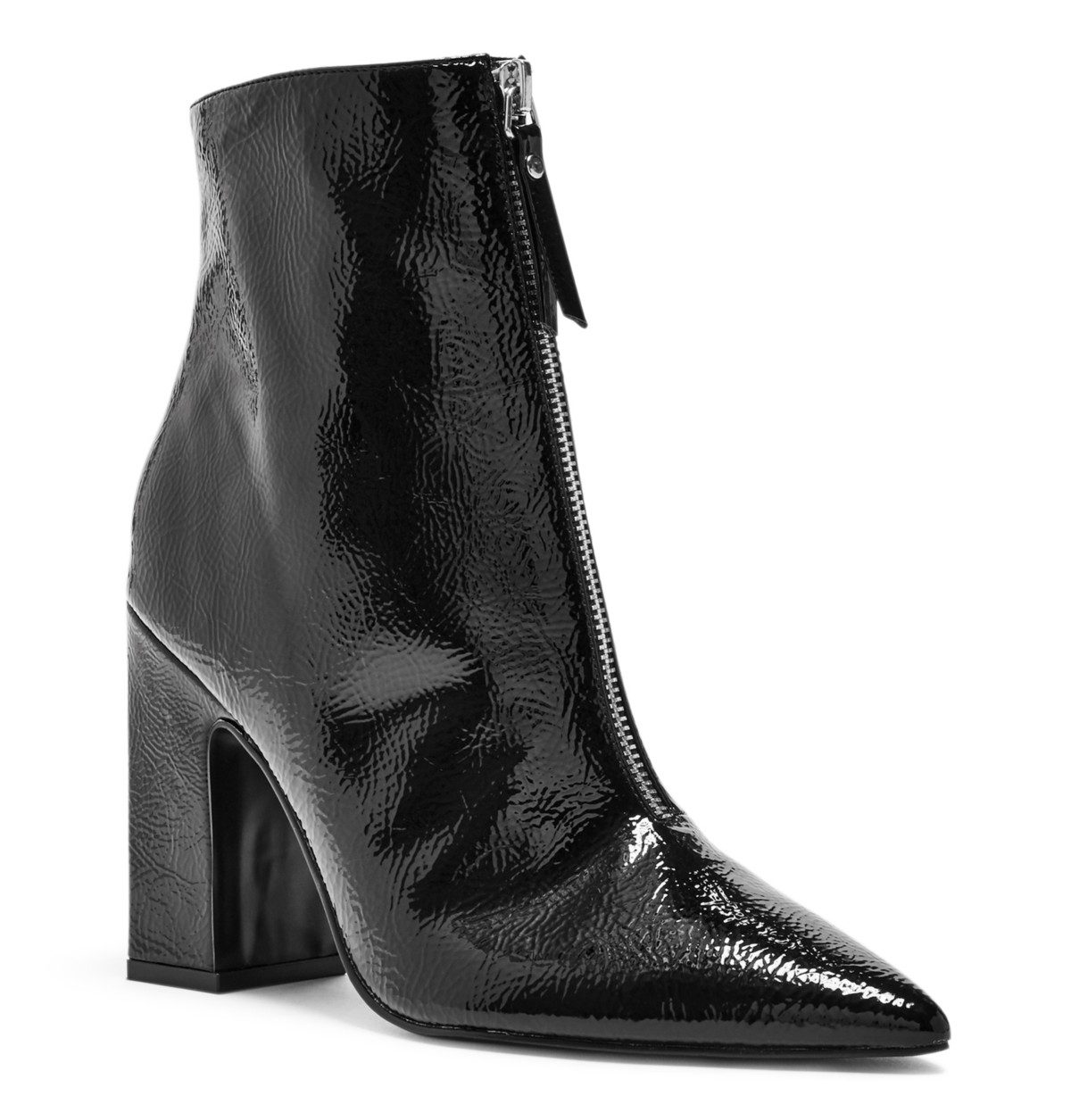 tanger outlets guess front zip black booties