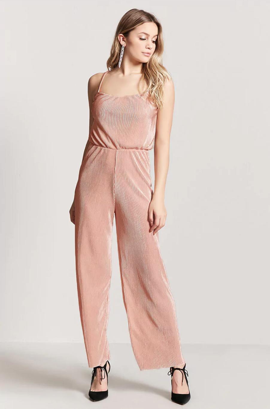 tanger outlets forever 21 blush jumpsuit