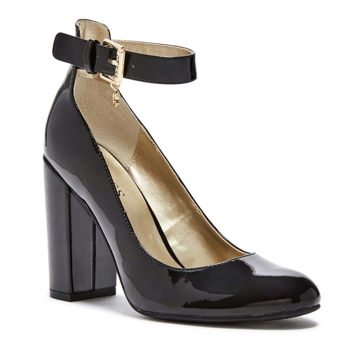 tanger outlets guess glossy black pumps