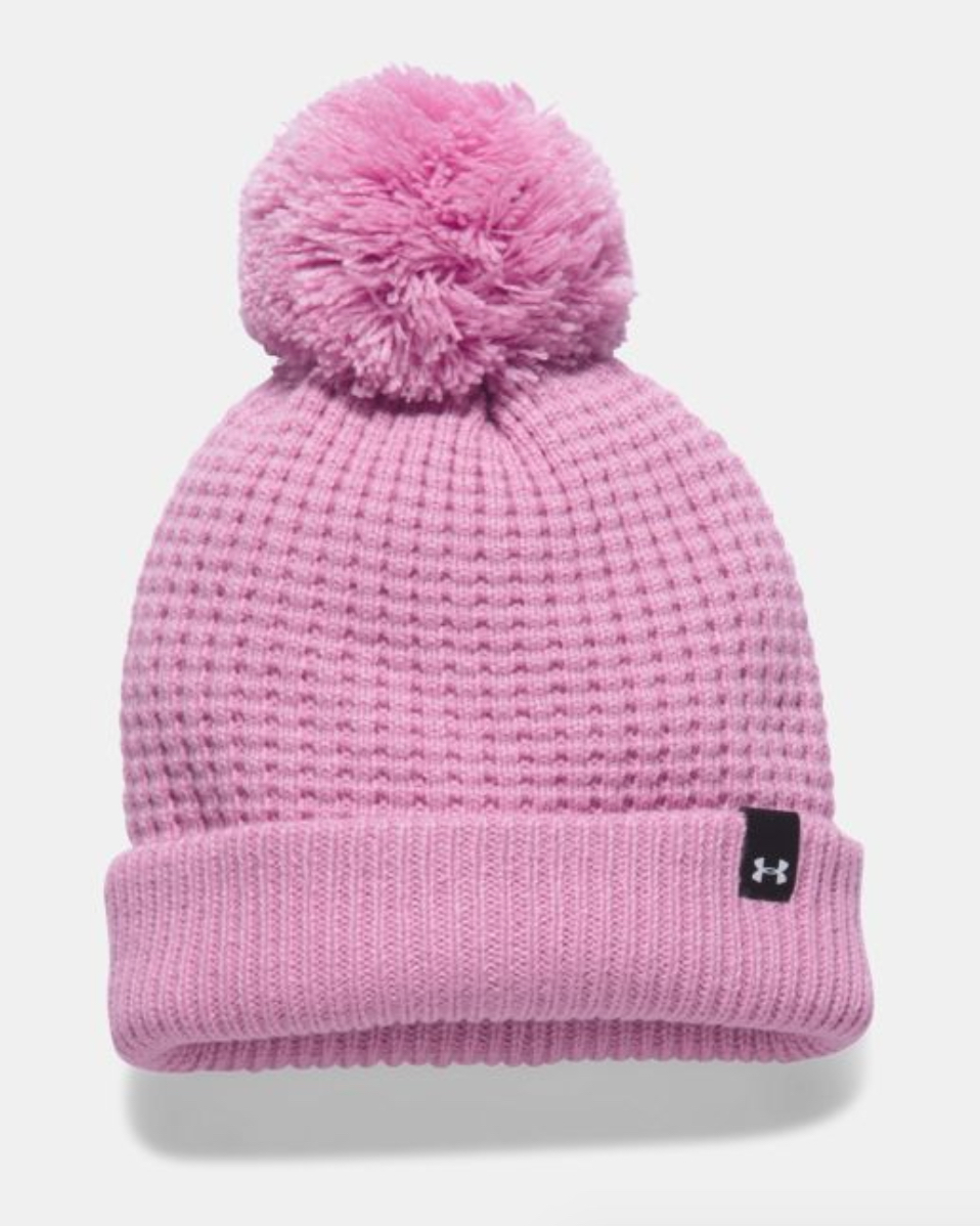 tanger outlets under armour pink pom knitted beanie