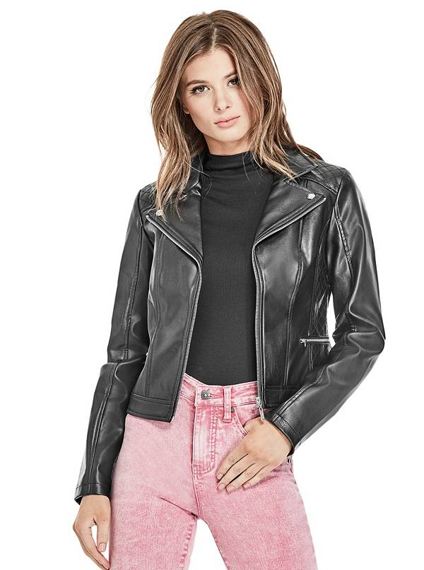 tanger outlets guess faux black leather jacket