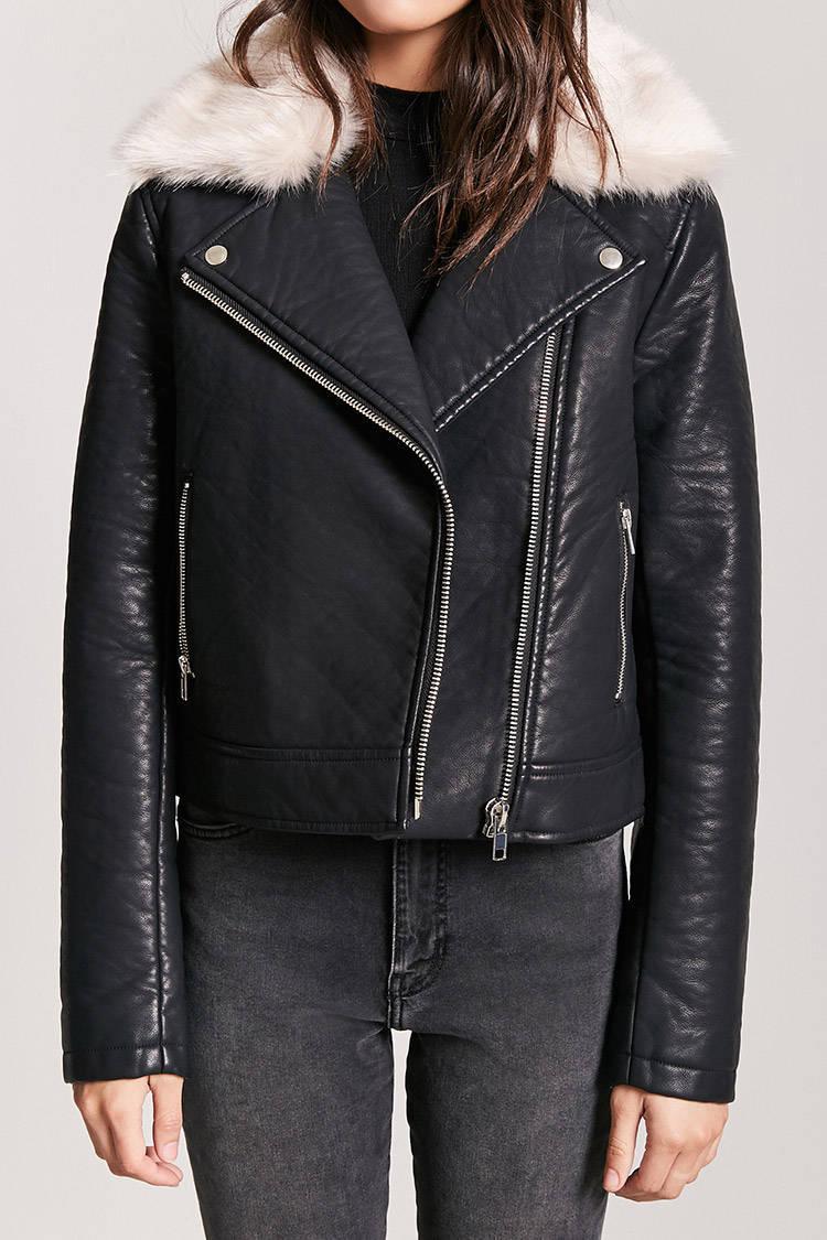 tanger outlets forever 21 faux fur black leather jacket