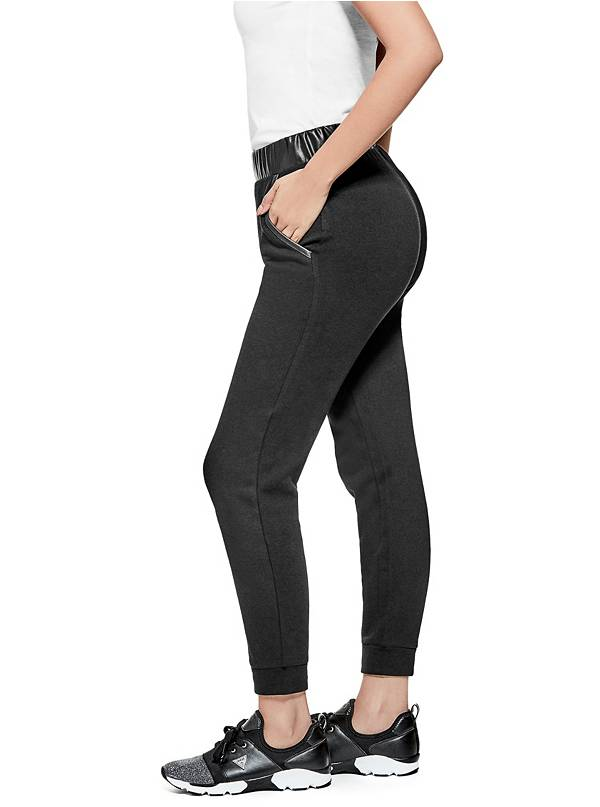 tanger outlets guess leather trimmed black joggers