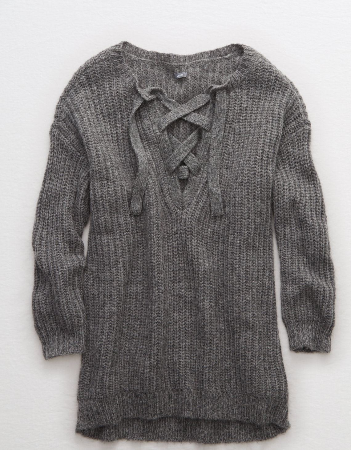 tanger outlets american eagle grey lace up knit sweater