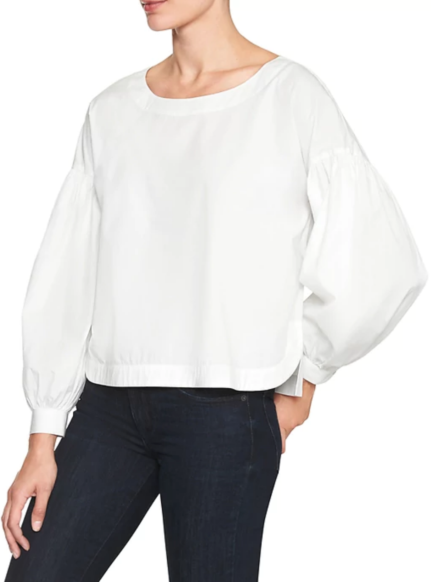 tanger outlets gap white puff sleeve top