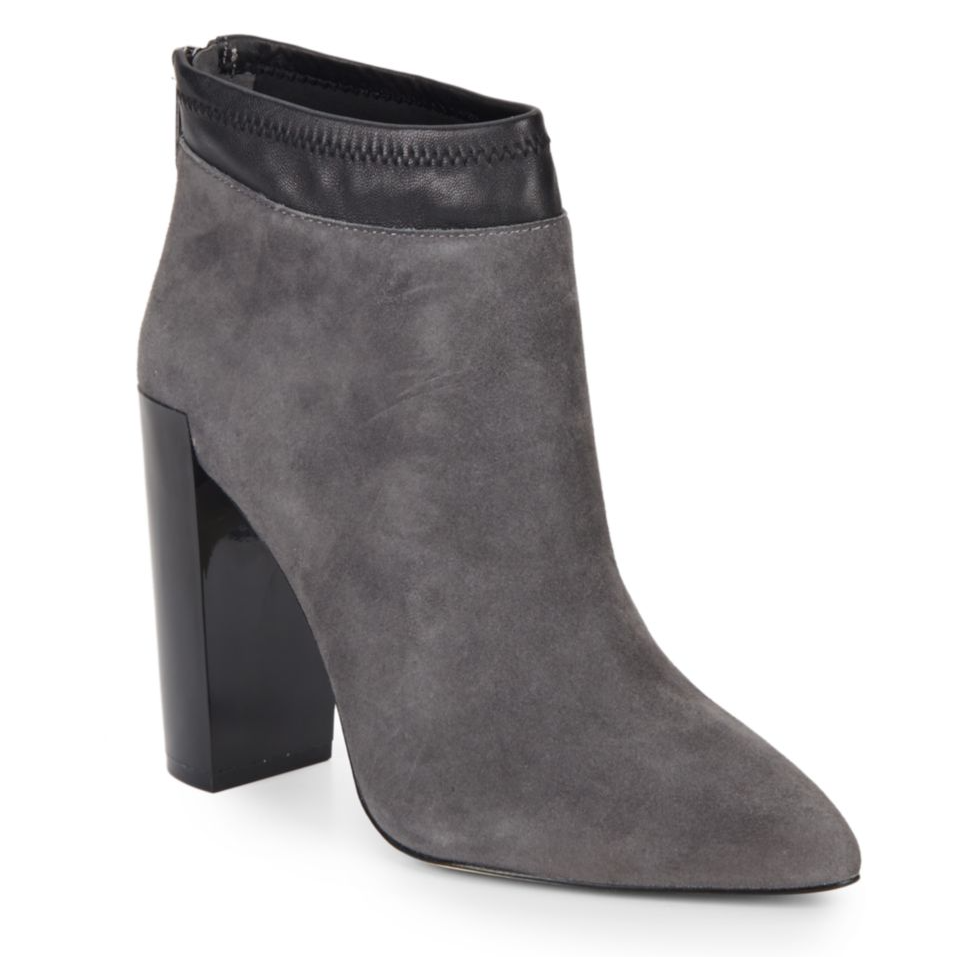tanger outlets saks off fifth grey suede booties