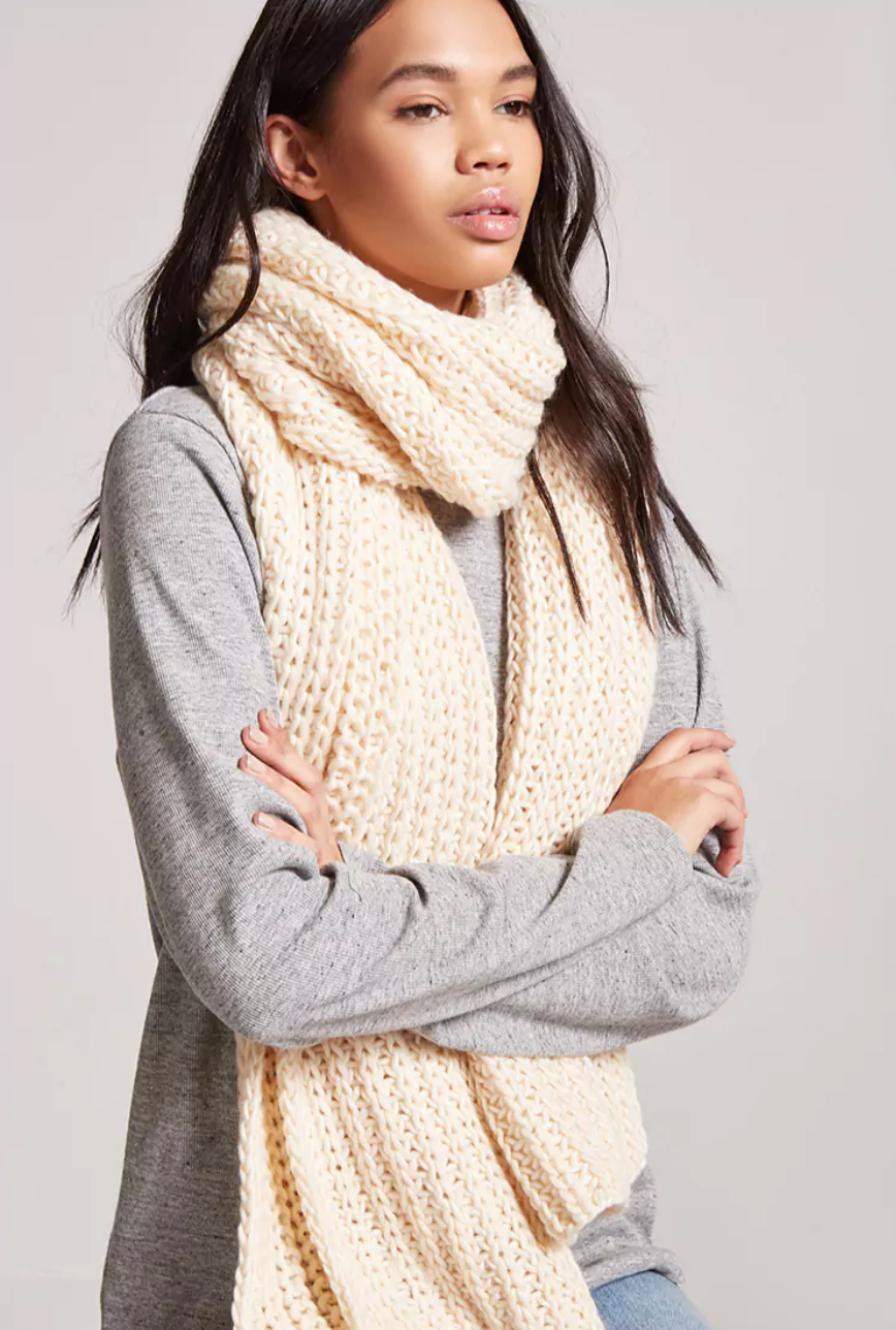 tanger outlets forever 21 cream knitted scarf
