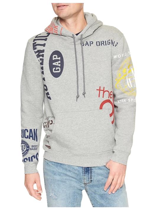 tanger outlets gap gray logo fleece hoodie