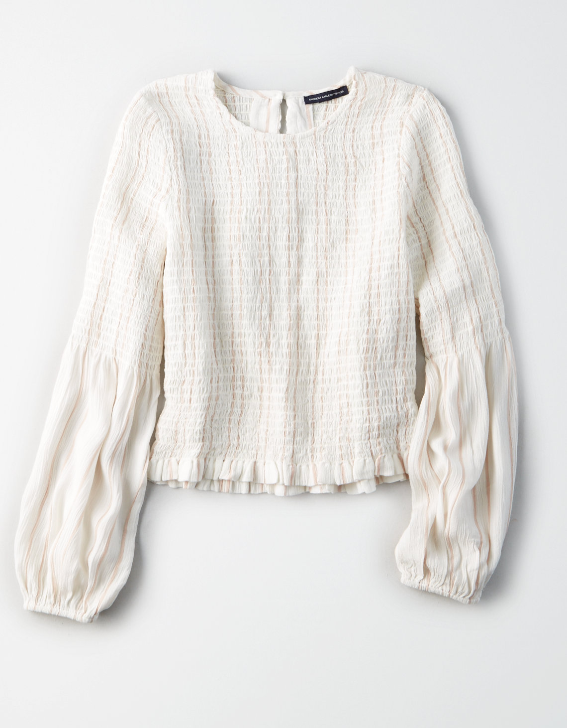 tanger outlets american eagle puffy sleeve neutral blouse
