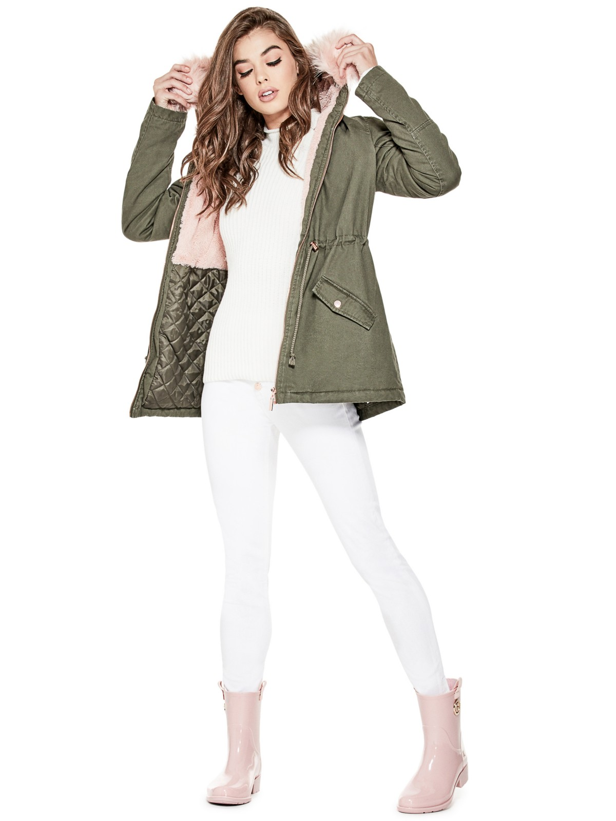 tanger outlets guess army green hooded parka coat