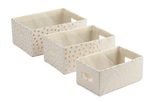 tanger outlets tjmaxx gold polka dot storage bin set