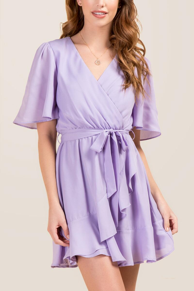 tanger outlets francescas flowy purple ruffle tie dress